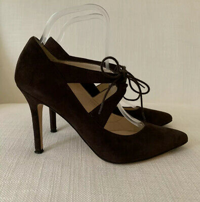 LK Bennett Brown Suede Lace Court Shoes Size 39 USED Worn Once