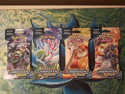Sun & Moon: Unbroken Bonds ***X4 Sealed Pokemon Blister Booster Packs*** TCG