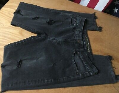 AMERICAN EAGLE black gray Extreme Flex 4 SLIM destroyed distress JEANS 31x31-32
