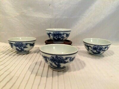 Set 4 Antique Asian Blue & White Porcelain Sake Teacup Cherry Blossom Marked EAC