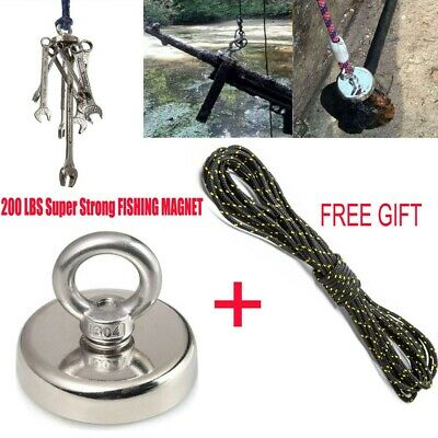 90kg Pull Fishing Magnet Treasure Hunting Recovery & 30 Metre Strong Rope