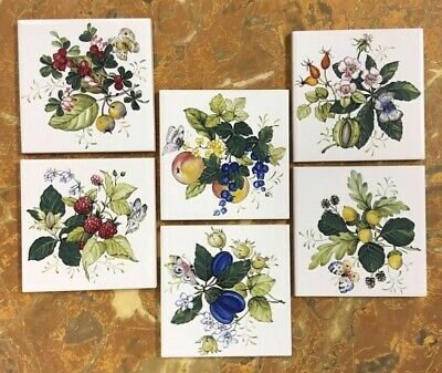 """CERAMIC  6 pc """"BUTTERFLY & BERRIES on 4-1/4"""" GLOSSY WHITE WALL TILE  4sets left"""
