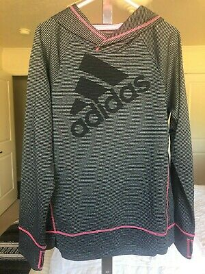 Size 6X Girls Adidas Climalite Hooded Light Weight Grey Top with Pink Detailing