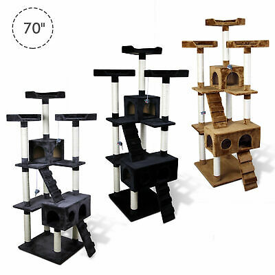 """70"""" Cat Scratching Tree Kitten Play House Kitty Multi-level Tower w/ Two Condos"""