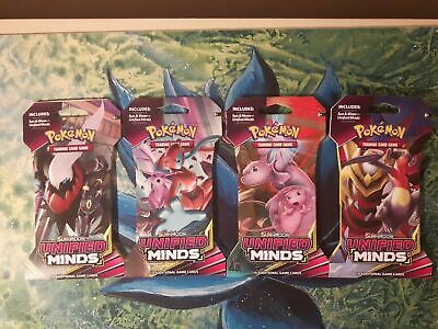 Sun & Moon: UNIFIED MINDS ***X4 SEALED POKEMON Blister Booster Packs*** TCG