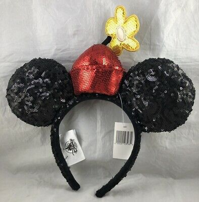 Disney Parks Minnie Mouse Ears Flower Hat Headband Sequin - NEW