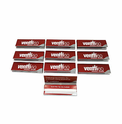 10 x Ventti Original Papers Slow Burn Cigarette Tobacco Rolling Paper RYO Red