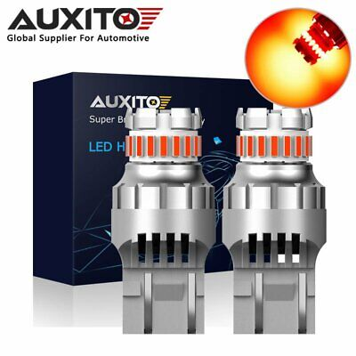 2X AUXITO 7443 7440 T20 23SMD Red Strobe Flash LED Brake Tail Light Bulb Globe