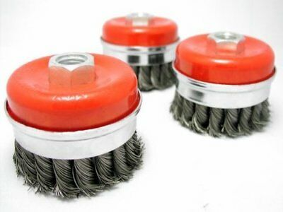 "3x 3"" Bridle Knot Cup Brush 5/8-11nc wire brush with BRIDLE - HEAVY DUTY"