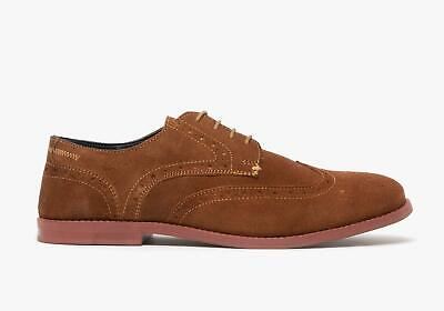 Silver Street London HOBART Mens Genuine Suede Lace Up Brogue Derby Shoes Tan