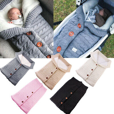 Newborn Blanket Baby Knitted Blanket Swaddle Wrap Swaddling Infant Sleeping Bag