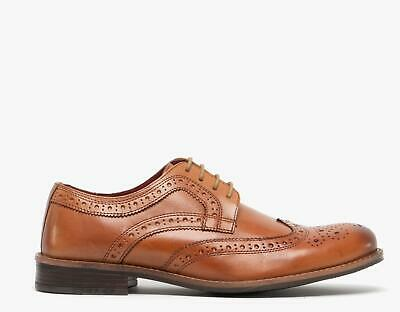 Silver Street London MILTON Mens Genuine Leather Lace Up Brogue Derby Shoes Tan
