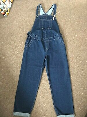 BNWT ASOS Maternity Jeans Blue Denim Dungarees, Size UK14