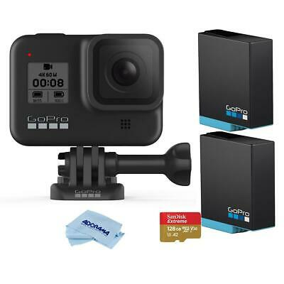 GoPro HERO8 Black W/Essential Kit 128GB MicroSDXC Card, 2x Rechargeable Battery