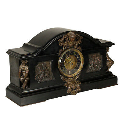 Table Clock Black Marble Bronze Manufactured in France Second Half of 1800