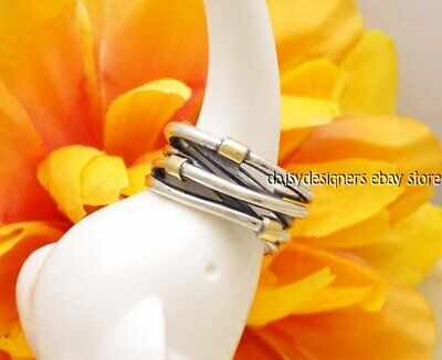 NEW Authentic PANDORA Silver 14k Gold WOVEN ROPE  Ring 190383 54 7 RETIRED