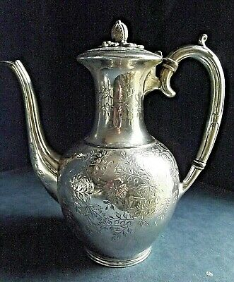 SUPERB Large ENGRAVED ~ SILVER Plated ~ Bulbous TEAPOT ~ c1890 by Atkins Brother