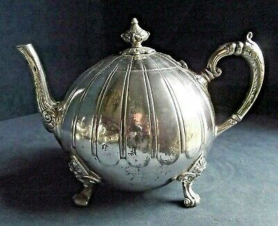 GOOD ~ GEORGIAN Styled ~ SILVER Plated ~ 'Melon' TEAPOT ~ c1860