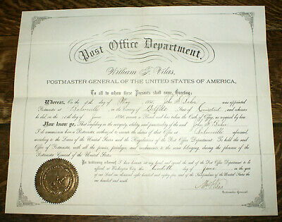 1885 Postmaster General Signed Certificate and Seal * William J. Vilas 33rd PMG