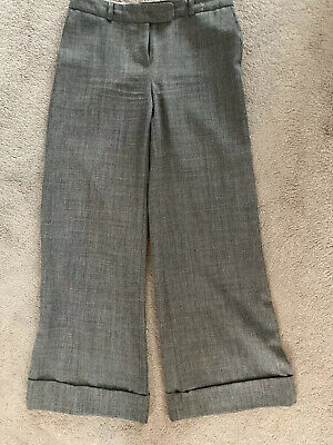 Ladies Ex Famous Brand Flare Trousers Grey Check Smart New Formal Womens 6-20