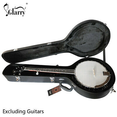 Glarry New 5-String 6-String Microgroove Pattern Leather Wood Banjos Case Black