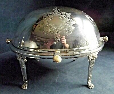 SUPERB Large ~ SILVER Plated ~ Rollover SERVING Dish ~ c1900 by Benefink