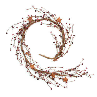 Factory Direct Craft Decorative Mixed Burgundy Berry and Rusty Stars Garland