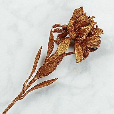 Factory Direct Craft Copper Glittered Artificial Double Poinsettia Sprays