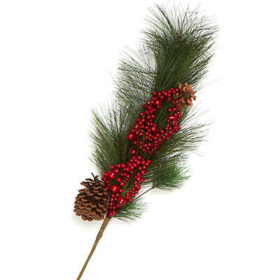 Factory Direct Craft Artificial Pine Spray with Red Berries and Pinecones