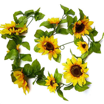 Factory Direct Craft 5 Foot Artificial Sunflower and Leaf Garland