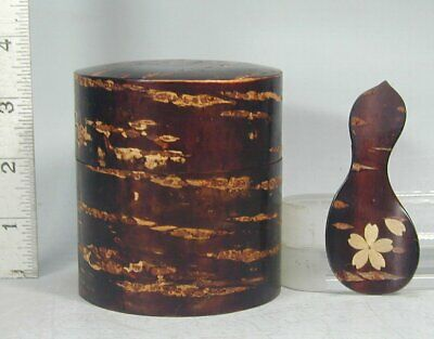 Tea Ceremony #216 Japanese Cherry Bark Wood Natsume Chaire Caddy Container Japan