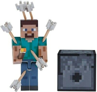 Minecraft Mini Action Figure-Steve With Arrows & Furnace, Kids Ideal GIFT TOY UK