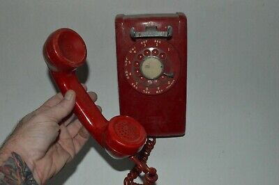 Vintage ITT Model 554 Series RED Rotary Dial Wall Mount Telephone