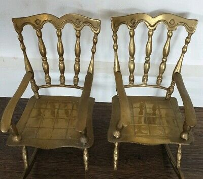 Pair Of Vintage Brass Rocking Chairs