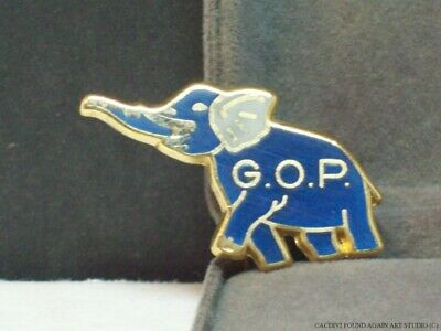 Vintage Republican GOP Elephant Pin Blue Enamel Grand Old Party Campaign Brooch
