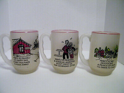 """Federal Glass Gay Nineties """"Here's To"""" Frosted Beer Mugs Lot/3"""