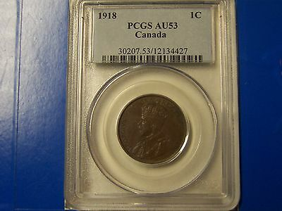 1918 Canada 1C Large Cent PCGS AU 53  **NICE BROWN COIN** FREE U.S. Shipping
