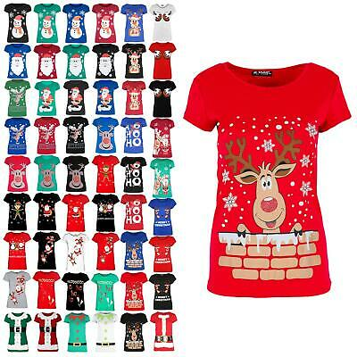 Ladies Womens Elf Belted Buttons Cap Sleeve Christmas Costume Xmas T-Shirt Top