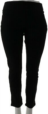 Denim & Co Active Pull-On Knit Ankle Pants Black L NEW A303558