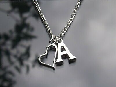 "Personalised Initial 18"" Necklace Heart Outline Pendant & Silver Plated Letter"