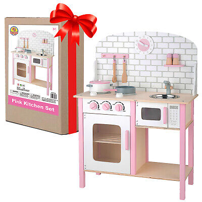 Wooden Kitchen Play Set Deluxe Toy Cooking Large Kids Role Dollshouse Furniture