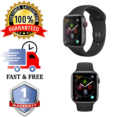 Apple Watch Series 4 -44mm    Space Grey Cellular    Black Sports Band    NO ECG
