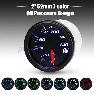 Universal 2'' 52mm 7 Color LED Electronic Oil Pressure PSI Gauge Meter Sensor uk