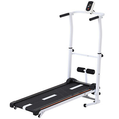 2-IN-1 Manual Walking Treadmill & Sit-up Station Portable Folding Incline Cardio