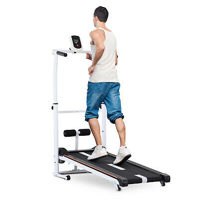 Soozier 2-IN-1 Manual Walking Treadmill & Sit-up Station Incline Cardio Fitness