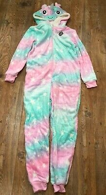 BNWT Brand New Primark Unicorn Onesey Pyjama Glitter Pink Green Fleece 10-11 Yrs
