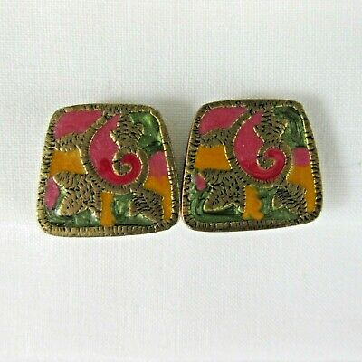 Chicos Clip on Guilloche Enamel Clip on Earrings Pink Orange Green Bronze Tone