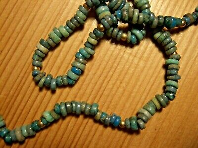 GENUINE ANCIENT EGYPTIAN BLUE FAIENCE BEADS NECKLACE (modern fittings) 18""