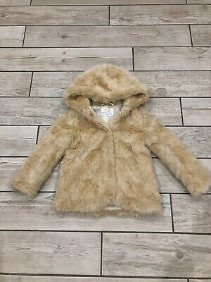 Zara Girls Designer Fur Coat Jacket Hooded Age 6 Years Quality Coat New BNWOT