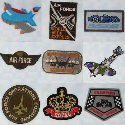9 DESIGN Quality Iron or Sew On Plane Airplane Racing Army Jet Coat Patch Motif